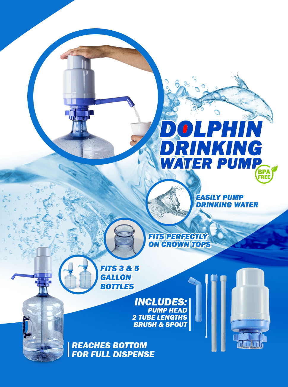 Fits Mo... Water Bottle Pump The Original Dolphin Manual Drinking Water Pump