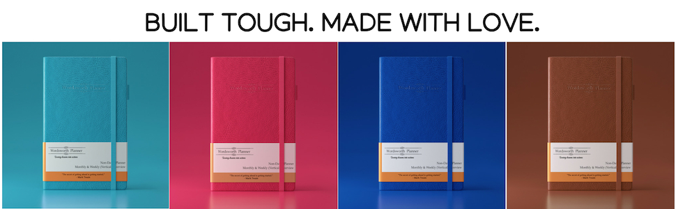 Wordsworth 2019 Undated Planner, Productivity Organizer and Journal - Vegan Leather -for College Students, Academics, and Business Owners - with ...