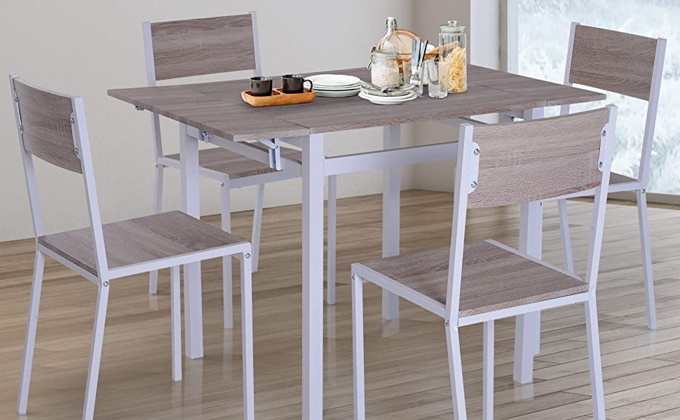 Brilliant Homcom 5 Piece Expanding Drop Leaf Dining Table And Chairs Set Light Grey White Ibusinesslaw Wood Chair Design Ideas Ibusinesslaworg