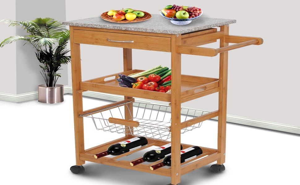 Amazon Com Homcom 31 Kitchen Island Rolling Storage Cart With Granite Top And Fancy Wine Rack Home Improvement
