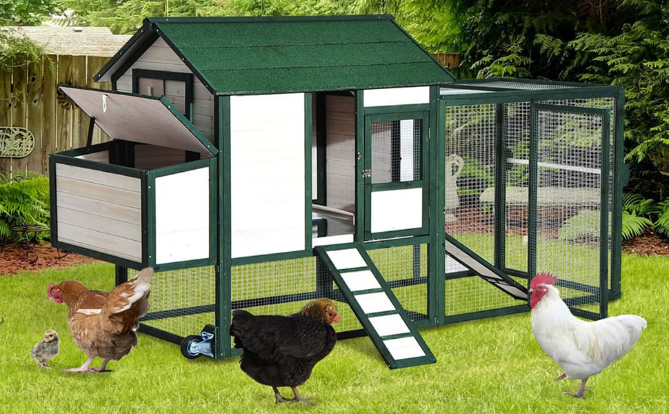 Portable Wheels Accessories Metal Coops Wire Chickens Fence Fencing House  Hutch Rabbit Bunny Cage