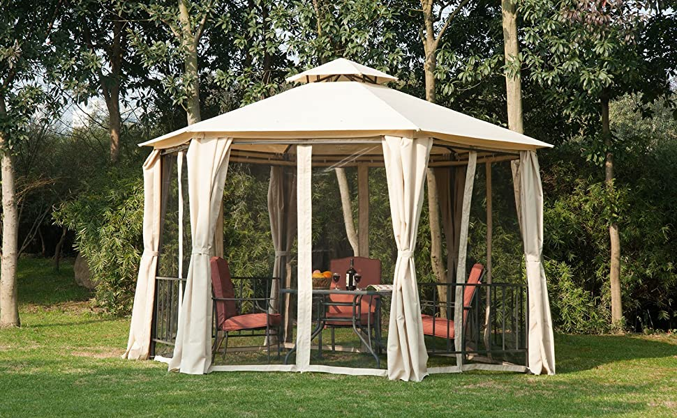 Outsunny Outdoor Two Tiered Hexagonal Garden Gazebo Canopy With Removable  Mesh Curtains   Beige