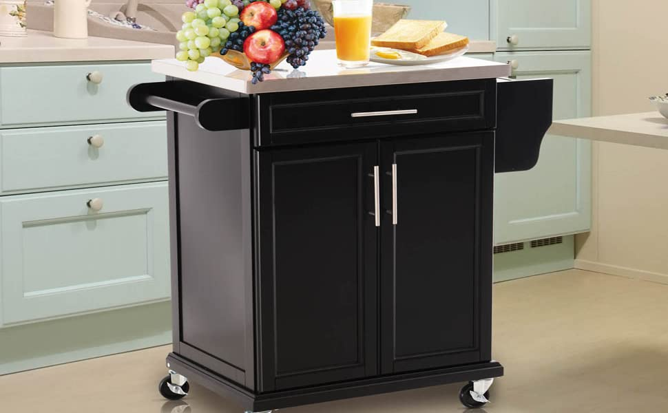 Homcom Wood Stainless Steel Multi Storage Rolling Kitchen Island Utility Cart With Wheels Black
