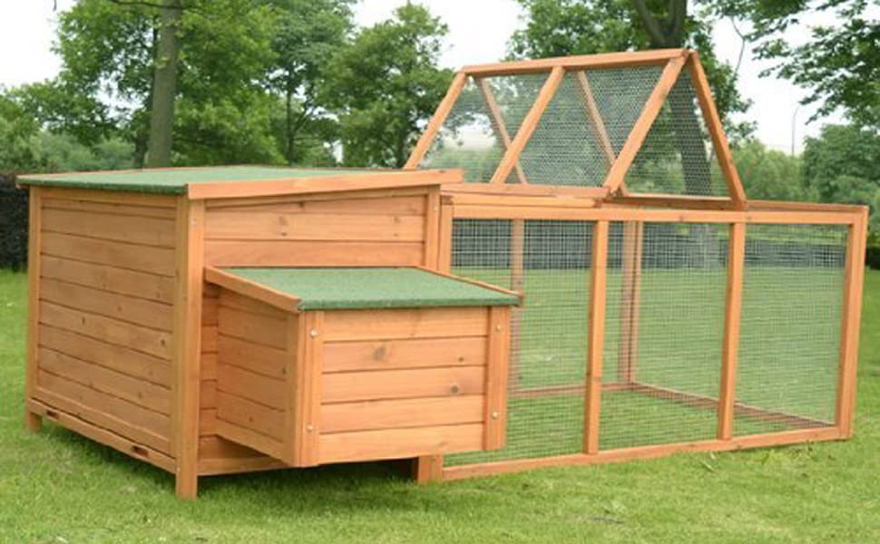 """PawHut 87"""" Deluxe Wooden Backyard Chicken Coop With Large Outdoor Run and  Nesting Box - Amazon.com : PawHut 87"""
