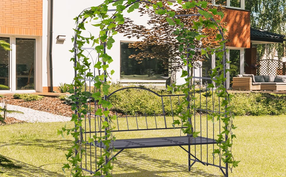 Fine Outsunny Outdoor Garden Arbor Arch Steel Metal With Bench Seat Black Pdpeps Interior Chair Design Pdpepsorg