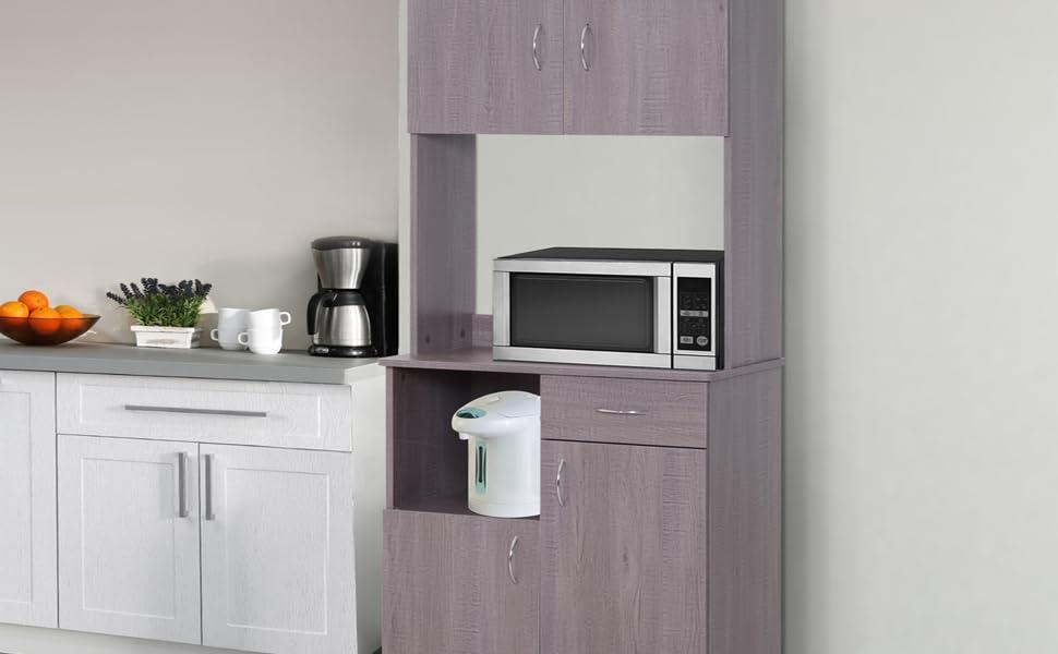"""HOMCOM 70"""" Modern Free Standing Kitchen Pantry Storage Cabinet - Dark Grey  Wood Grain"""