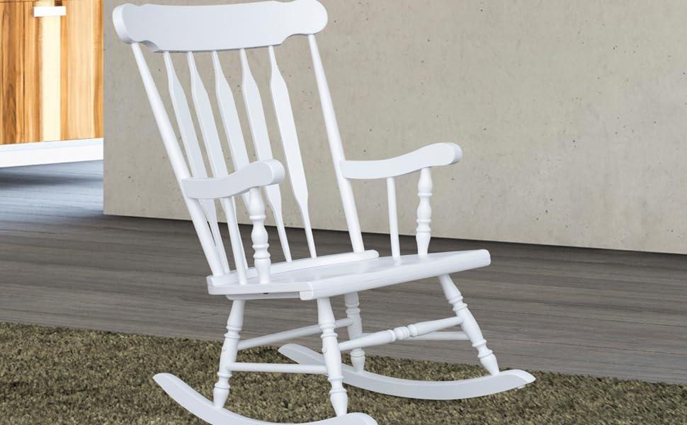 Astounding Homcom Wooden Baby Nursery Rocking Chair White Creativecarmelina Interior Chair Design Creativecarmelinacom