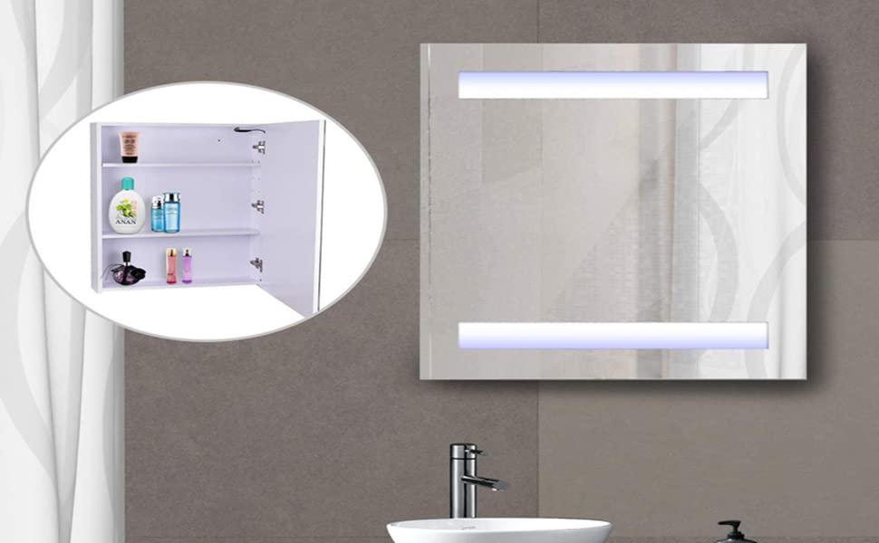 Stupendous Homcom Vertical 32 Led Illuminated Bathroom Wall Mirror Medicine Cabinet Dual Strip Leds Home Remodeling Inspirations Basidirectenergyitoicom