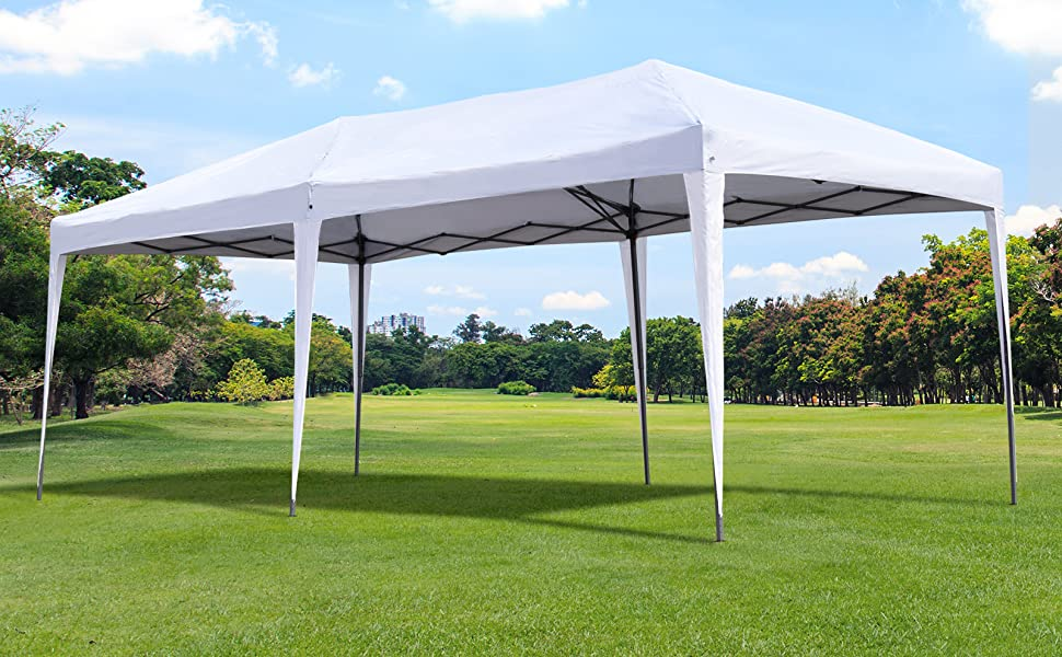 Amazon Com Outsunny 10 X 20 Outdoor Pop Up Canopy Party Tent With Uv Resistant Roof Easy Setup Metal Frame Carry Bag White Sports Fan Canopies Garden Outdoor