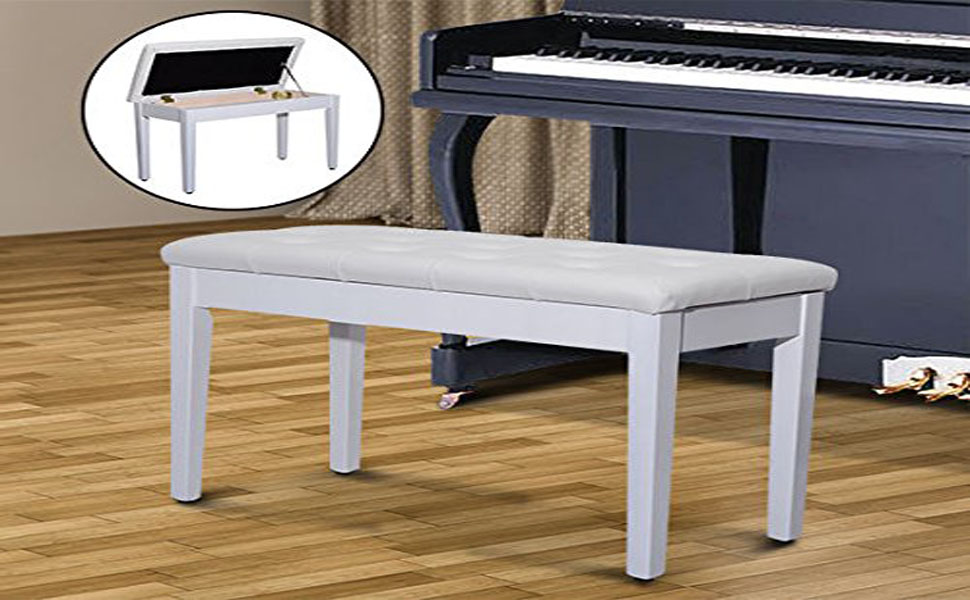 HomCom Traditional Country Birchwood Faux Leather Padded Two Person Piano  Bench   Country White