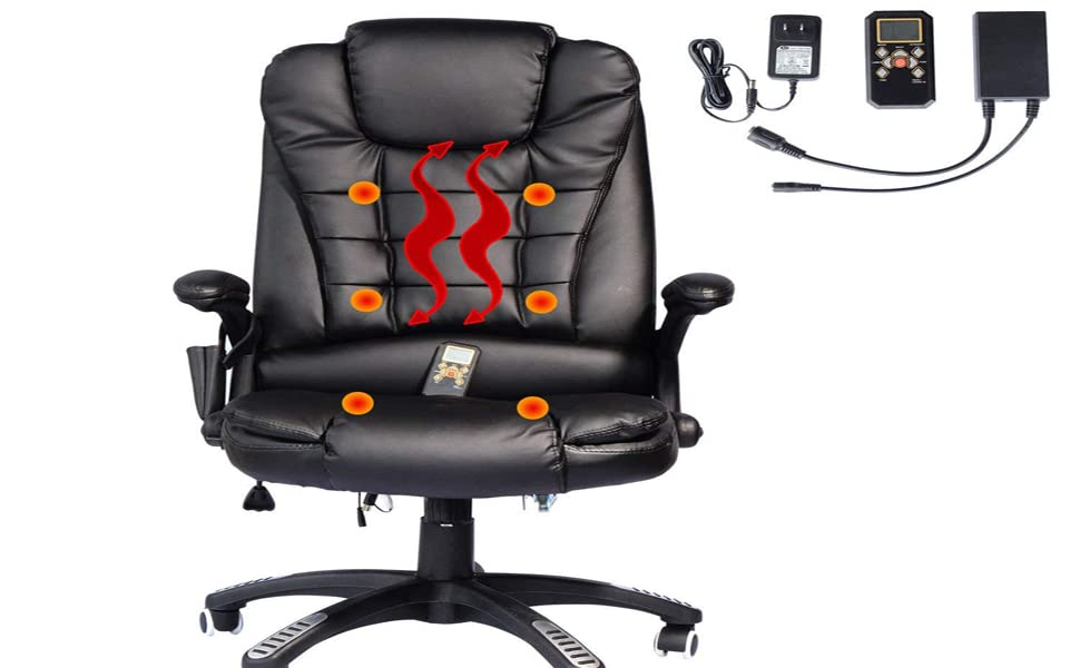Delicieux Black Lumbar Support Executive PU Leather Heat Massage Desktop Computer  Chair