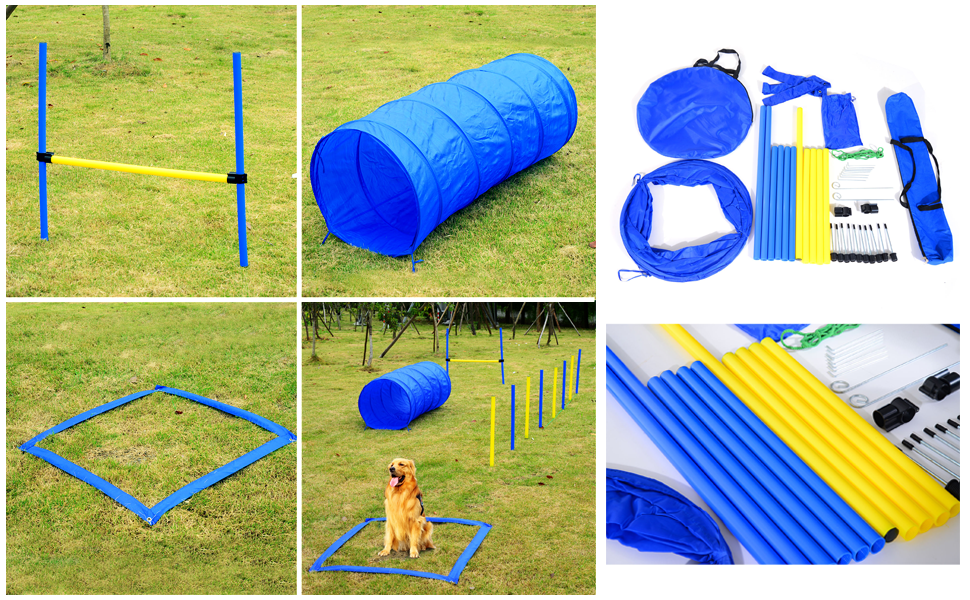 PawHut Backyard Competitive Dog Agility Training Kit Obstacle Course  Equipment - Amazon.com : PawHut 4 Obstacle Backyard Competitive Dog Agility