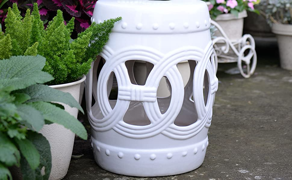 Outsunny 14 X 17 Ceramic Side Table Garden Stool With Knotted Ring Design Glazed Strong Materials White Garden Outdoor
