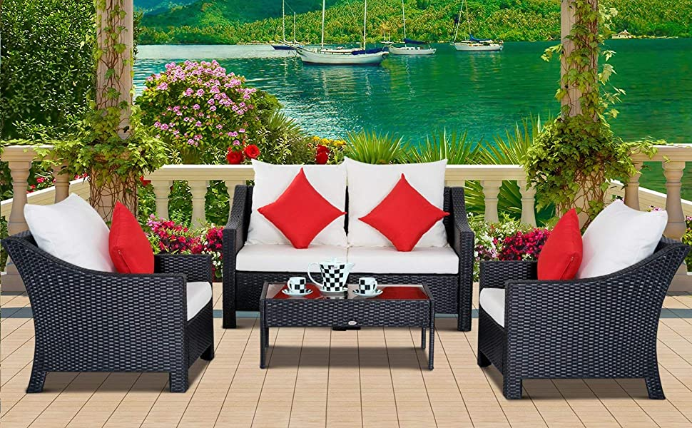 Awe Inspiring Outsunny 4 Piece Outdoor Patio Rattan Wicker Cushioned Loveseat And Chair Set Lamtechconsult Wood Chair Design Ideas Lamtechconsultcom