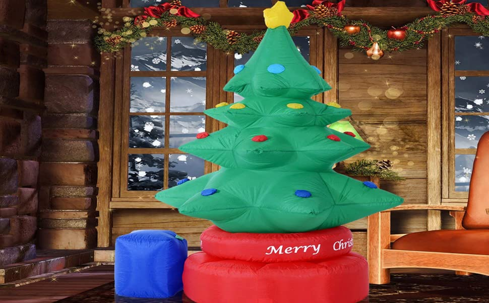 december xmas seasonal led white glow giant large blow up waterproof weather resistant polyester - Blow Up Christmas Tree