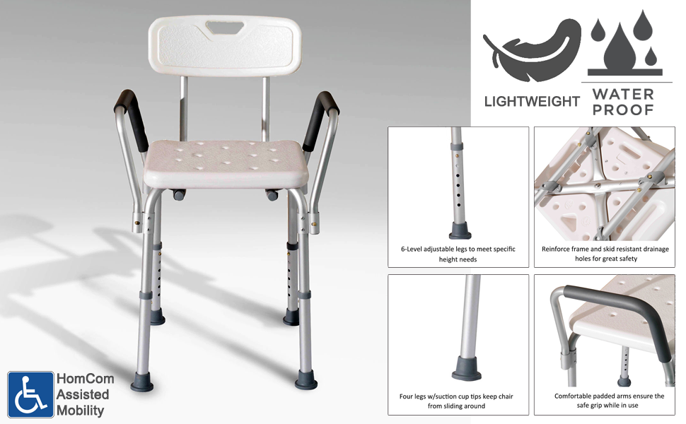 Amazon.com: HomCom Adjustable Medical Shower Seat Bath Chair w/Arms ...
