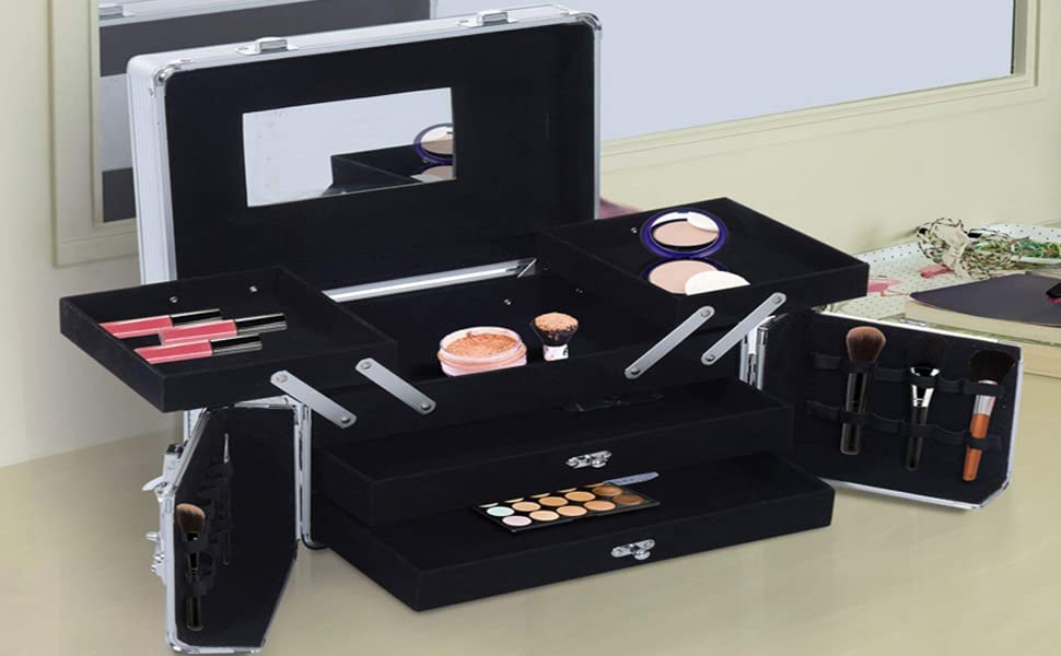 Amazon.com: soozier 3 pisos Lockable Maquillaje Cosmético ...