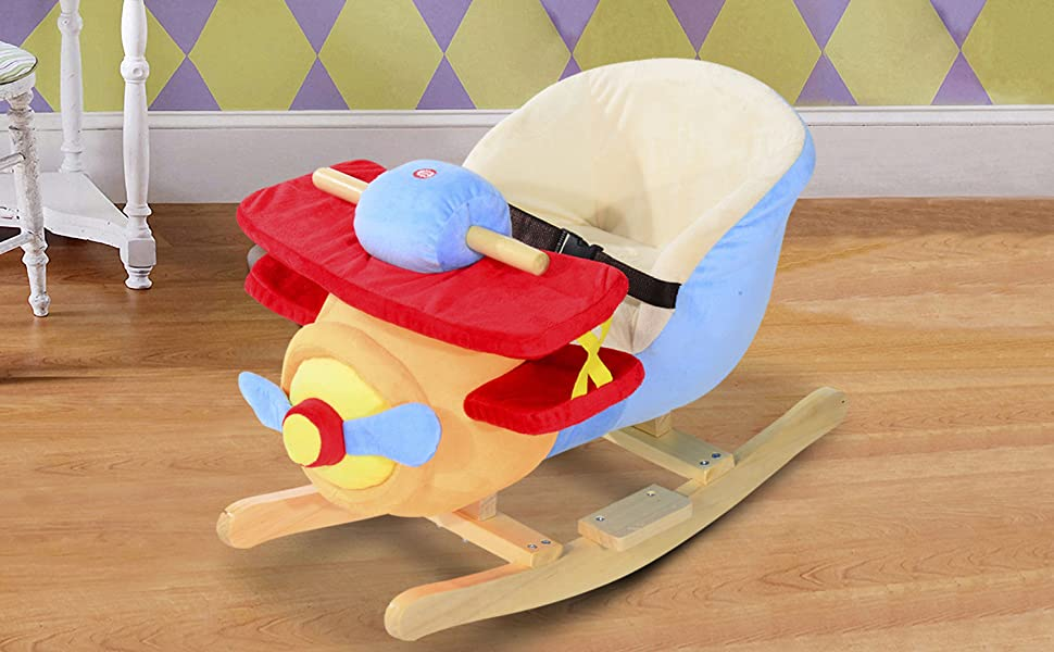 Astounding Qaba Kids Plush Ride On Rocking Horse Airplane Chair With Nursery Rhyme Sounds Inzonedesignstudio Interior Chair Design Inzonedesignstudiocom