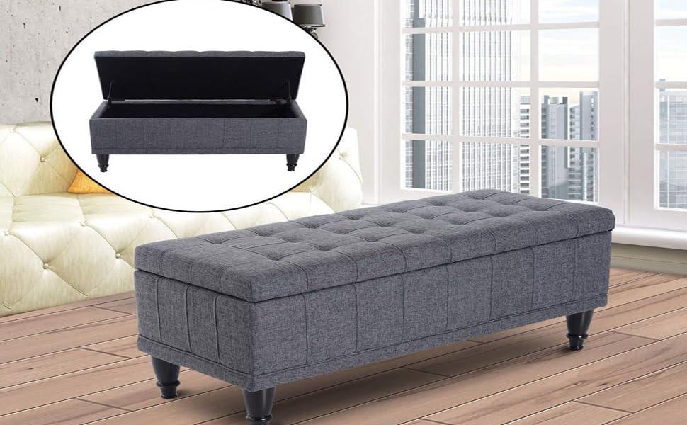 HomCom Large 42u201d Tufted Linen Fabric Ottoman Storage Bench   Dark Heather  Grey