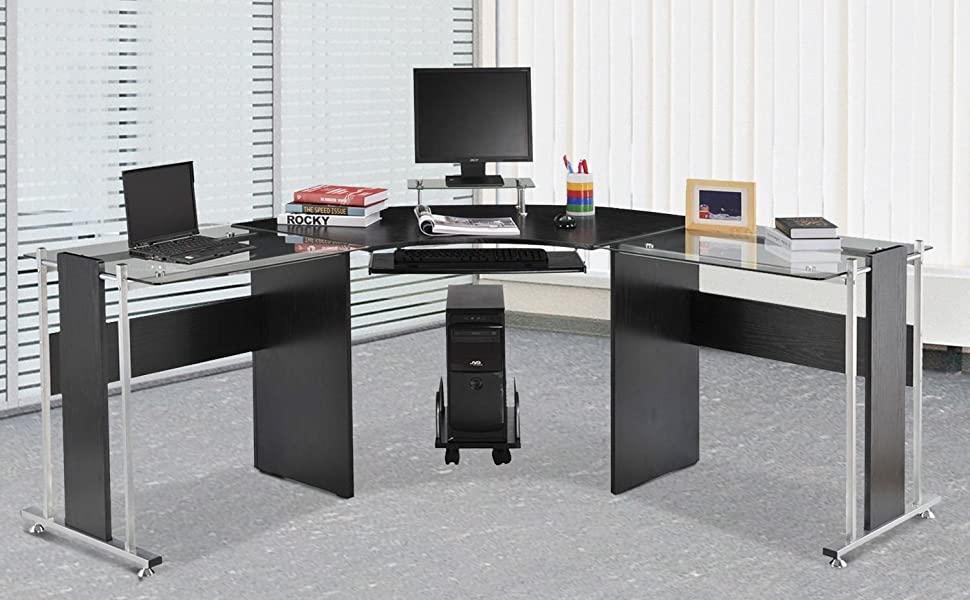 HOMCOM L-Shaped Corner Computer Desk Gaming Table Home Office Workstation  Glass Top P2 MDF with Keyboard Tray & Shelf
