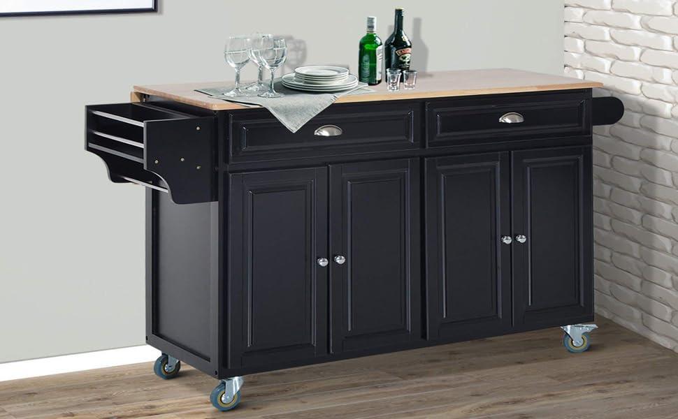 Exceptionnel HomCom Wood Top Drop Leaf Rolling Kitchen Island Table Cart On Wheels    Black