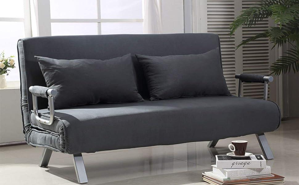 HomCom Full Size Folding 5 Position Steel Convertible Sleeper Bed Chair -  Dark Grey