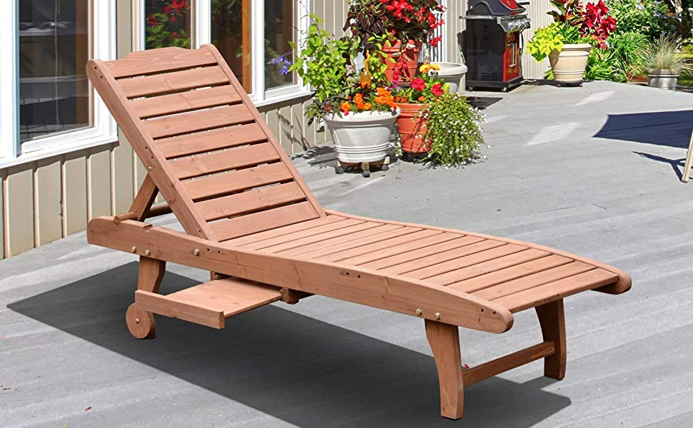 Amazon Com Outsunny Reclining Outdoor Wooden Chaise Lounge Patio