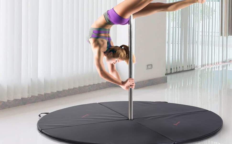 "Soozier 2"" T x 5 W Round Folding Portable Pole Dance Crash Mat - Black"
