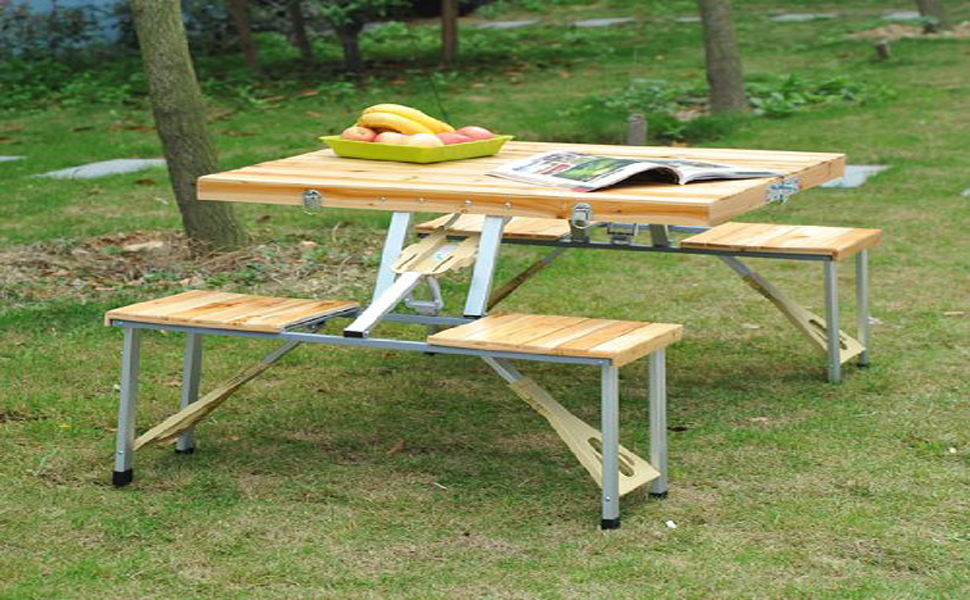 Amazoncom Outsunny Person Wooden Portable Compact Folding - Picnic table with grill built in