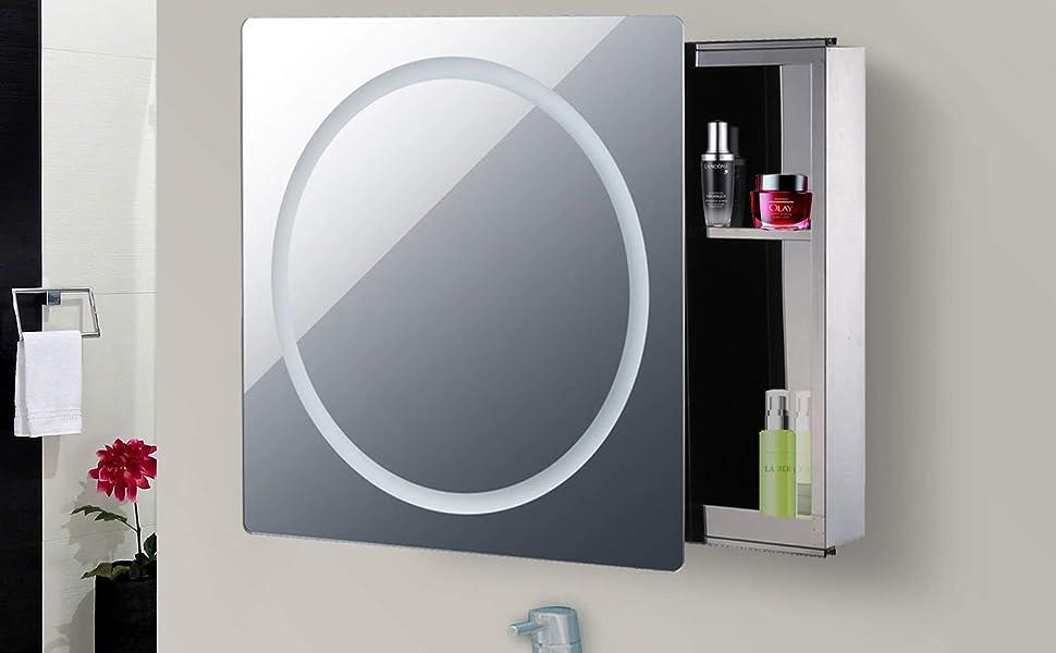 Amazon Com Homcom Led Ring Sliding Bathroom Mirror Medicine Wall