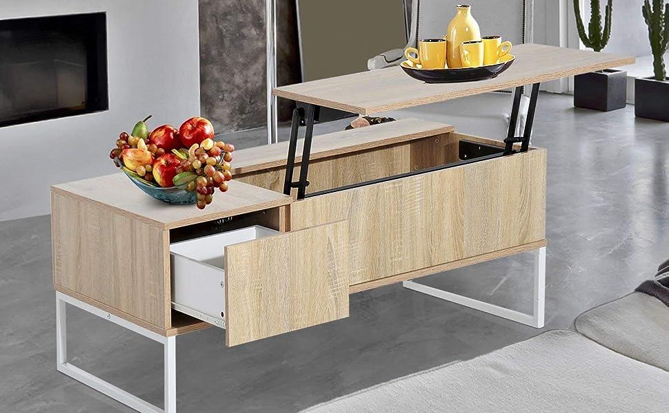 Amazon Com Homcom 43 Modern Lift Top Coffee Table Desk With