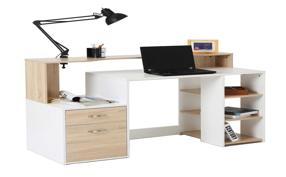 Superieur HomCom 55u201d Multi Shelf Modern Home Office Desk With Shelves Drawers   Light  Oak / White