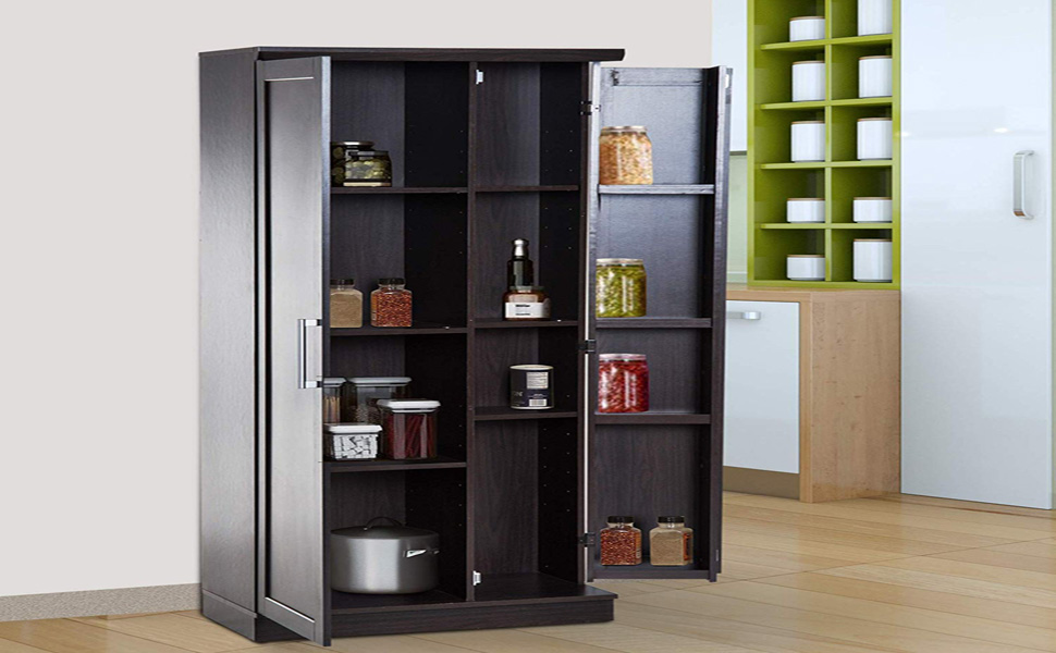 Amazon Com Homcom 72 Wood Free Standing Kitchen Pantry Organizer