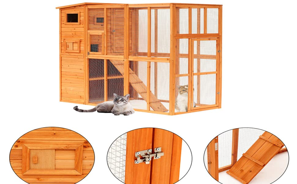 Amazoncom Pawhut 77 X 38 X 69 Large Wooden Outdoor Cat