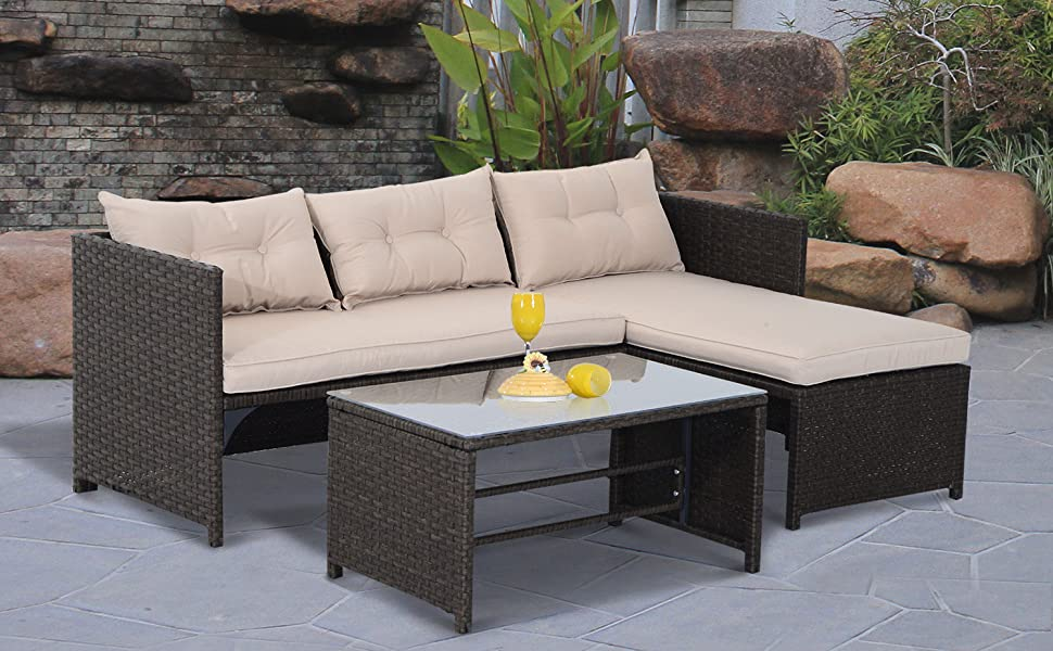 Etonnant Outsunny 3 Piece Outdoor Patio PE Rattan Wicker Sofa And Chaise Lounge Set