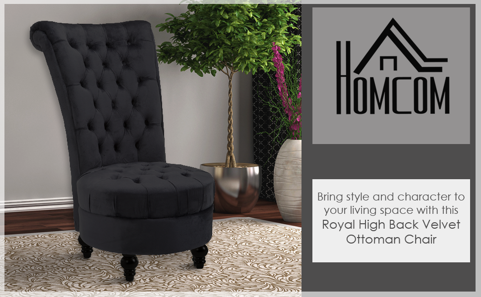 Royal High Back Velvet Tufted Ottoman Chair