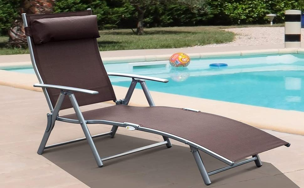 Steel Mesh Outdoor Adjustable Foldable Reclinable Patio Pool Lounge Chair  Brown