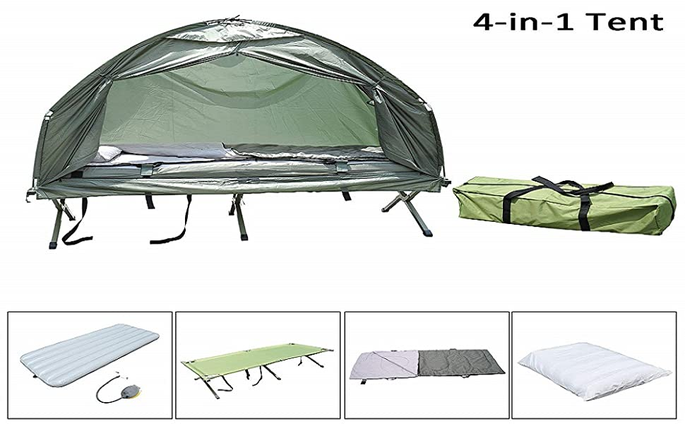 42376b12ce8 Outsunny Portable Camping Cot Tent with Air Mattress, Sleeping Bag, and  Pillow