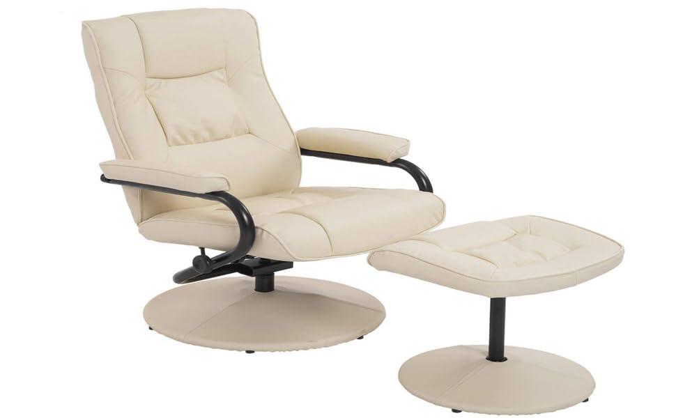 HomCom Ergonomic Faux Leather Lounge Armchair Recliner And Ottoman Set    Cream White