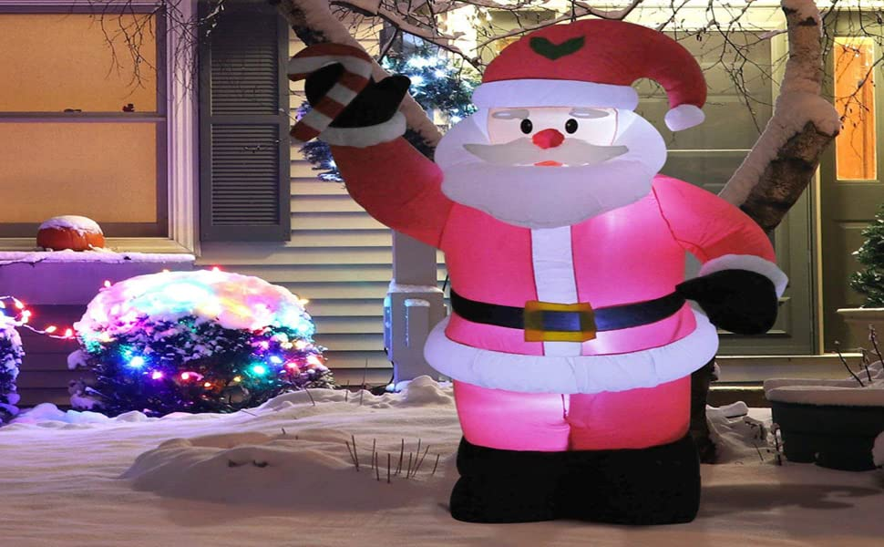 december xmas seasonal led white glow giant large blow up waterproof weather resistant polyester