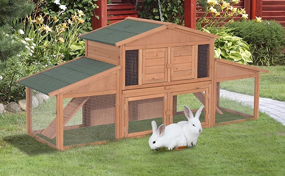 Amazon Com Pawhut 91 Deluxe Large Wooden Bunny Rabbit Hutch