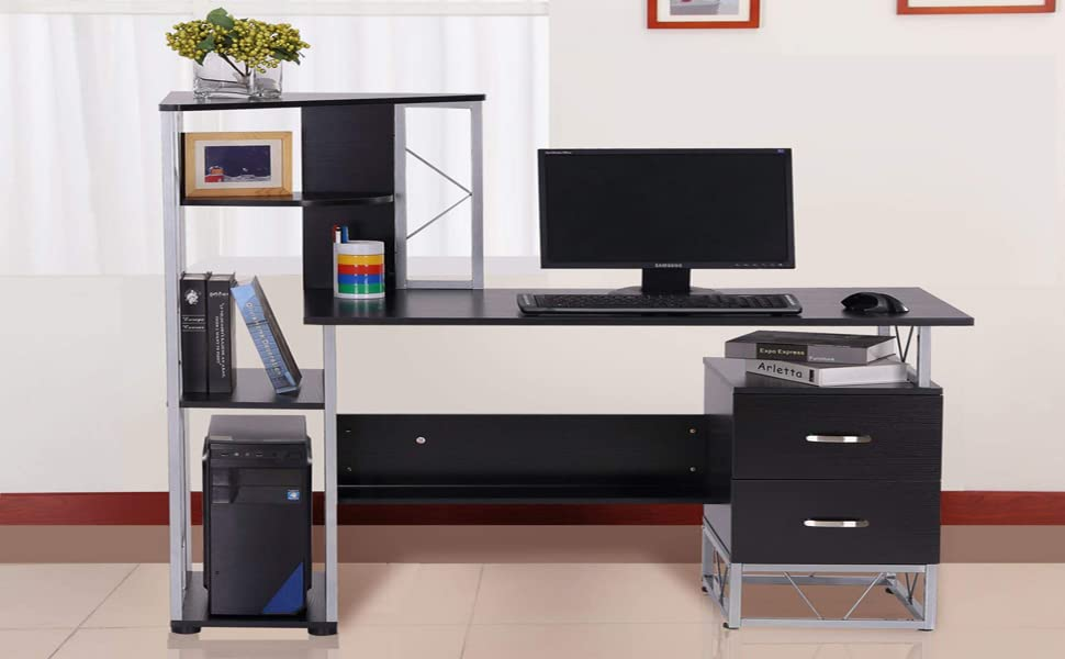 Amazon Homcom Multi Level Steel Wood Computer