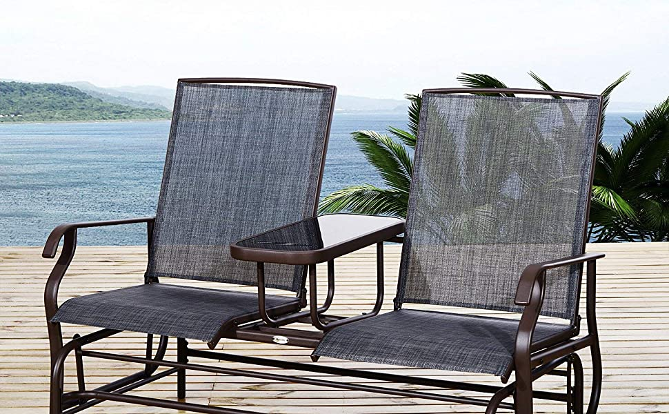 Incroyable Outdoor Mesh Fabric Patio Double Glider Chair Center Table