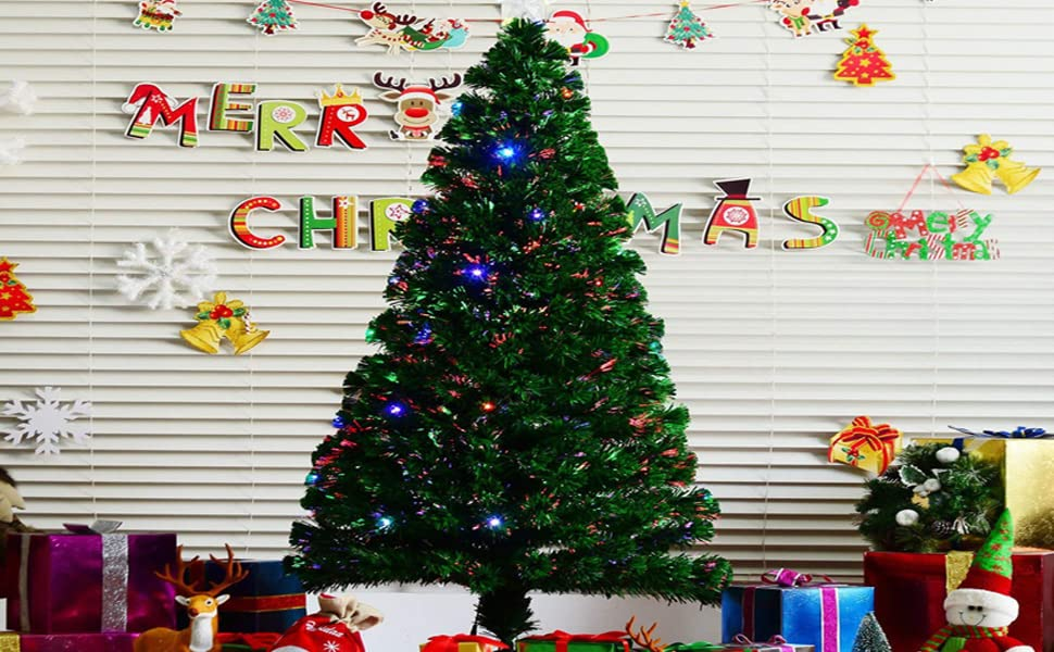 homcom 6 tall artificial fiber optic led pre lit holiday christmas tree