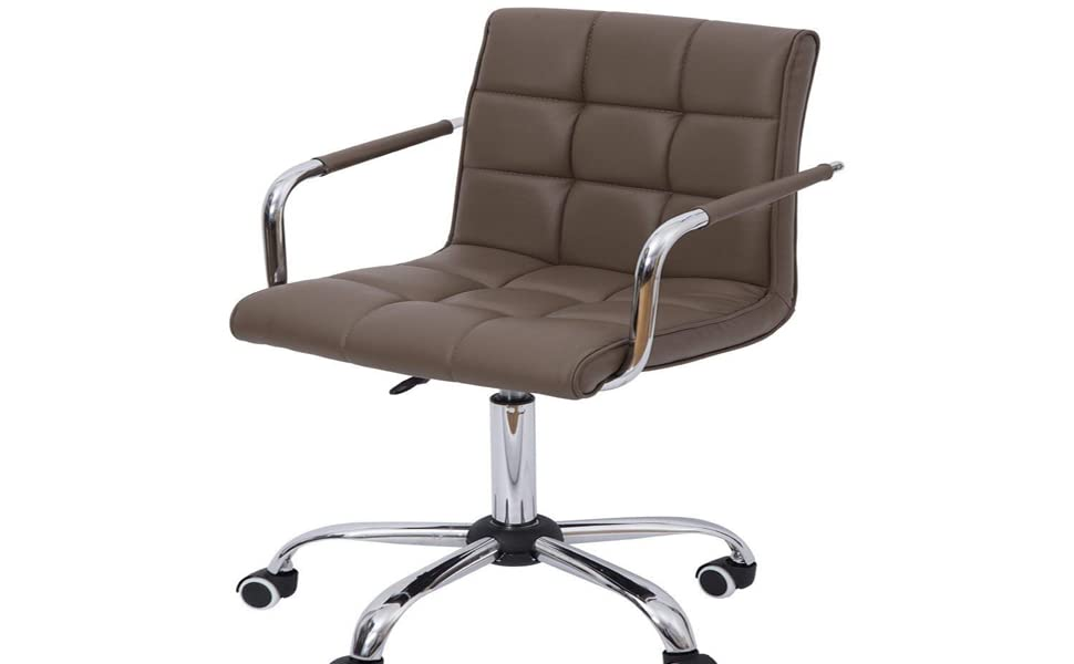Super Homcom Modern Tufted Pu Leather Midback Home Office Chair With Lumbar Support Brown Cjindustries Chair Design For Home Cjindustriesco