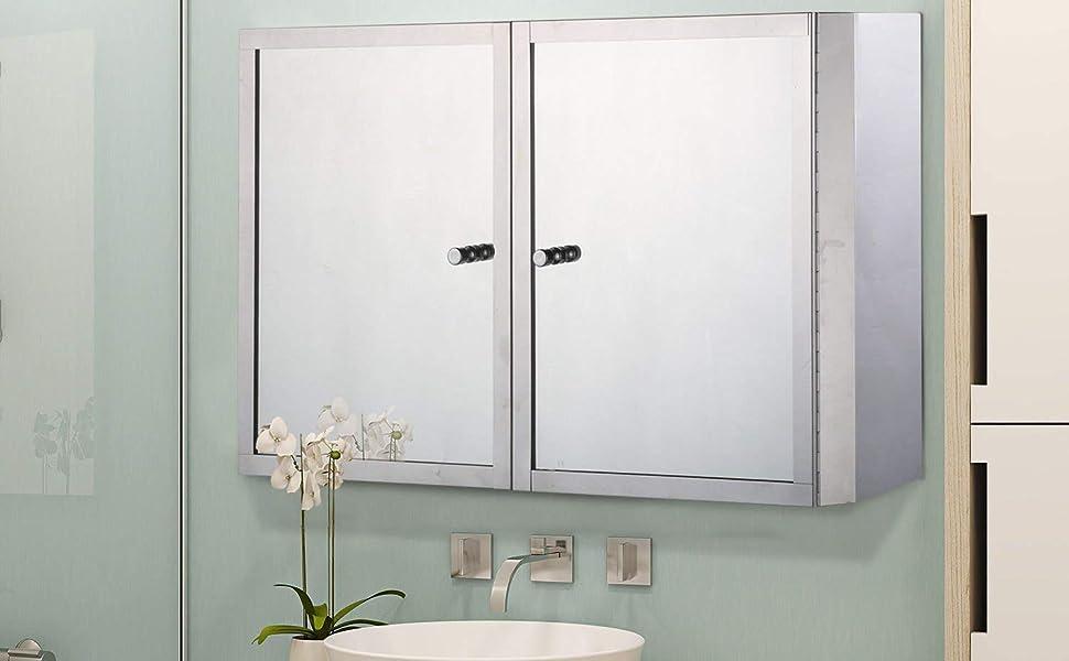 Amazon Com Homcom Horizontal 20 Stainless Steel Bathroom Wall