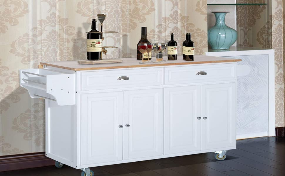 HomCom Wood Top Drop Leaf Rolling Kitchen Island Table Cart On Wheels    White