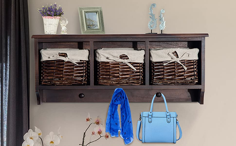 32u201d Rustic Country Floating Storage Shelf Coat Hooks Removable Wicker  Baskets Coffee Woodgrain