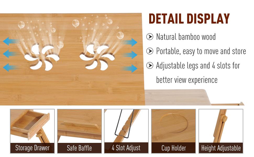 Amazon.com: HOMCOM Adjustable Bamboo Laptop Tray with Drawer ...