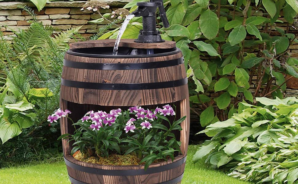 Amazon.com : Outsunny Barrel Water Fountain Wood Metal ... on Backyard Decorations Amazon id=76243